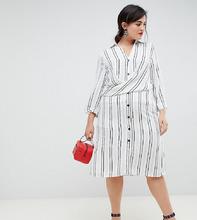 River Island | Платье-рубашка в полоску с запахом River Island Plus - Кремовый | Clouty