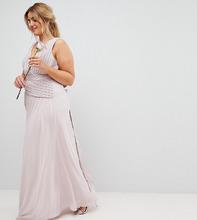 TFNC London | Платье макси с бантом на спине TFNC Plus - Коричневый | Clouty