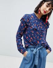 Esprit   Рубашка с оборками и цветочным принтом Esprit - Мульти   Clouty