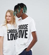 Help Refugees | Белая удлиненная футболка из органического хлопка Help Refugees Choose Love - Белый | Clouty