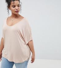 ASOS | Розовая футболка с рукавами летучая мышь ASOS DESIGN Curve - Розовый | Clouty