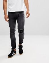 Religion | Байкерские джинсы скинни с рваными коленями Religion - Черный | Clouty