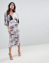 ASOS   Платье-кимоно с абстрактным принтом ASOS - Мульти   Clouty