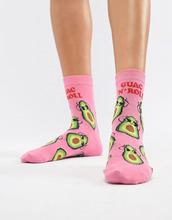 ASOS | Носки с авокадо и надписью Guac n roll ASOS DESIGN - Розовый | Clouty