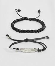 ASOS | Набор браслетов со стрелой и бусинами ASOS DESIGN - Черный | Clouty