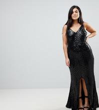 Club L | Платье макси на бретелях с пайетками Club L Plus - Черный | Clouty
