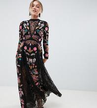 Frock And Frill | Платье макси с вышивкой и кружевными вставками Frock And Frill Petite | Clouty