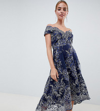 City Goddess | Кружевное платье миди с широким вырезом City Goddess Petite - Темно-синий | Clouty