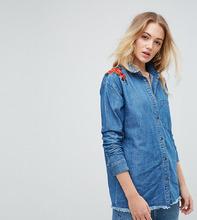 Noisy May | Джинсовая рубашка с цветочной вышивкой Noisy May Tall - Синий | Clouty