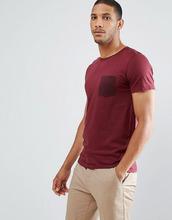 Selected Homme   Футболка в полоску с контрастным карманом Selected Homme - Красный   Clouty