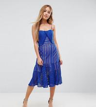 Jarlo | Кружевное платье миди на бретельках Jarlo Petite - Синий | Clouty