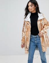 Blank NYC   Куртка-дождевик с эффектом металлик Blank NYC - Золотой   Clouty