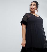 Lost Ink Plus | Платье с сетчатой расклешенной юбкой и отделкой искусственным мехом Lost Ink Plus - Черный | Clouty