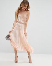 ASOS | Плиссированная атласная юбка миди ASOS - Розовый | Clouty