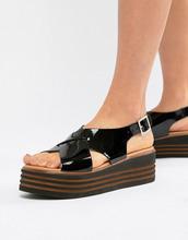 ASOS | Лакированные кожаные туфли на платформе ASOS DESIGN Tornado - Черный | Clouty