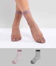 ASOS | 2 пары сетчатых носков (черные/розовато-лиловые) ASOS DESIGN - Мульти | Clouty