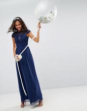 ASOS | Платье макси с кружевными вставками ASOS DESIGN - Темно-синий | Clouty