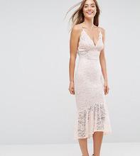 ASOS   Кружевное платье миди с оборкой на подоле ASOS TALL - Розовый   Clouty
