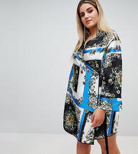 ASOS   Платье с запахом, принтом и окантовкой ASOS DESIGN Curve - Мульти   Clouty