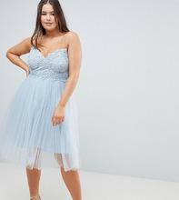 ASOS   Платье миди с кружевным топом ASOS DESIGN Curve - Синий   Clouty