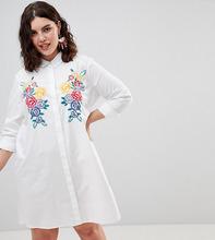 ASOS | Хлопковое платье-рубашка мини с вышивкой ASOS DESIGN Curve - Белый | Clouty