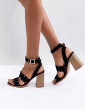 ASOS | Замшевые сандалии с отделкой заклепками ASOS TESSIE - Черный | Clouty