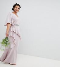 ASOS   Платье макси с рукавами клеш, оборкой и декорированным поясом ASOS DESIGN Curve Bridesmaid - Розовый   Clouty