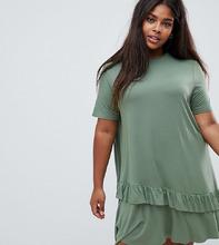 ASOS | Платье-футболка мини с оборкой на подоле ASOS DESIGN Curve - Зеленый | Clouty