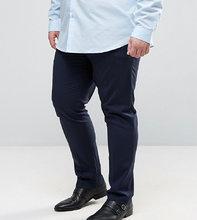 ASOS | Темно-синие строгие брюки зауженного кроя ASOS PLUS - Темно-синий | Clouty