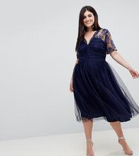 ASOS | Платье миди с кружевом и сборками на топе ASOS CURVE - Темно-синий | Clouty