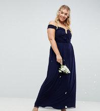 ASOS   Сетчатое платье макси с открытыми плечами и сборками ASOS DESIGN Curve Bridesmaid - Темно-синий   Clouty