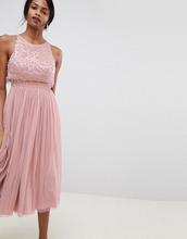 ASOS | Платье миди с отделкой ASOS DESIGN - Розовый | Clouty