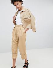 ASOS | Саржевые брюки с заниженной проймой ASOS WHITE - Светло-бежевый | Clouty