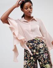 Love | Блузка с драпированными рукавами и оборками Love - Розовый | Clouty