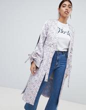 Lost Ink | Жаккардовый пиджак-кимоно с разрезами на рукавах Lost Ink - Розовый | Clouty
