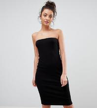 ASOS   Облегающее платье-бандо миди в рубчик ASOS TALL - Черный   Clouty