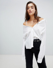 Noisy May | Рубашка-трансформер с декоративной строчкой Noisy May - Белый | Clouty