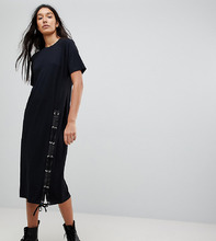 ASOS   Платье-футболка миди со шнуровкой ASOS TALL - Черный   Clouty