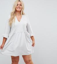 ASOS   Свободное платье с V-образным вырезом и манжетами-оборками ASOS CURVE   Clouty