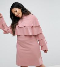 Club L   Платье с оборками Club L Plus - Розовый   Clouty