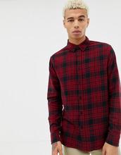 bershka | Черная/красная рубашка в клетку с воротником на пуговицах Bershka - Красный | Clouty