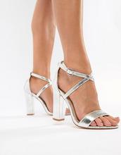 Glamorous | Glamorous metallic cross strap block heel sandals in silver | Clouty