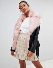 Parisian | Кожаная куртка с воротником из искусственного меха Parisian - Черный | Clouty