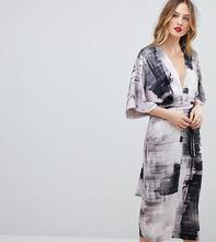 ASOS   Платье-кимоно с абстрактным принтом ASOS TALL - Мульти   Clouty