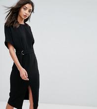 ASOS   Тканое платье миди с D-образным кольцом ASOS TALL - Черный   Clouty