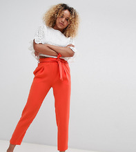 River Island | Широкие брюки со складками River Island Petite - Оранжевый | Clouty