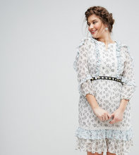 truly you | Короткое приталенное платье в цветочек с поясом Truly You - Мульти | Clouty