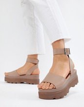 ASOS | Кожаные сандалии на платформе ASOS DESIGN Temple - Бежевый | Clouty