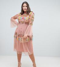 Frock And Frill | Короткое приталенное платье с вышивкой и кисточками Frock And Frill Plus - Розовый | Clouty