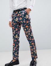 asos design | Строгие брюки скинни с цветочным принтом ASOS DESIGN - Темно-синий | Clouty